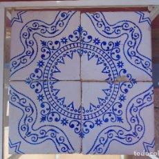 Antigüedades: PAÑO DE 4 AZULEJOS ANTIGUOS, AZUL Y BLANCO. JUSTO VILAR. MANISES. Lote 134741242