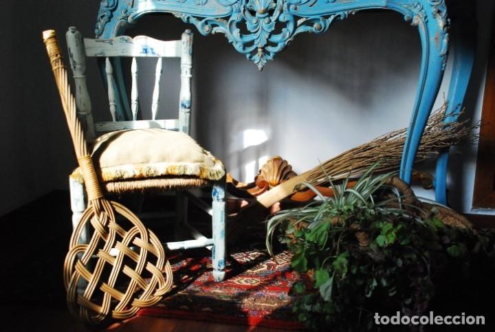Antigüedades: PRECIOSA CONSOLA ANTIGUA AZUL DECAPADA - Foto 5 - 134746130