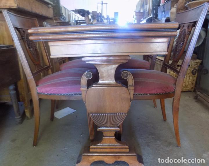 elegante mesa de comedor con sus sillas, madera maciza, perfecto estado ver  fotos