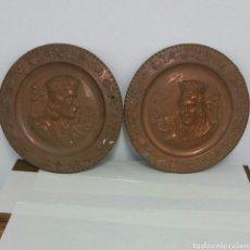 Antigüedades: PLATOS DE COBRE REYES C.. Lote 134788541