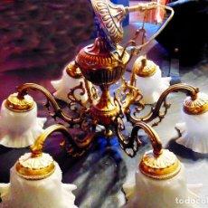 Antigüedades: BONITA LAMPARA ANTIGUA DE BRONCE LABRADO 6 BRAZOS CON 6 TULIPAS ESTILO MODERNISTA 62X47 Y 66X32 CMS. Lote 133748086