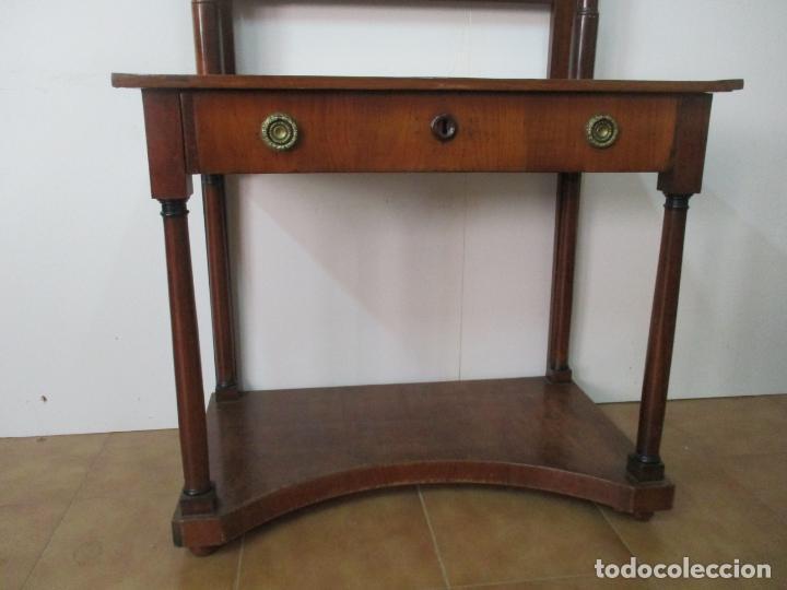 Antigüedades: Pequeño Tocador - Consola con Espejo - Carlos IV - Madera de Caoba - 90 cm Ancho - Principios S. XIX - Foto 5 - 134856686
