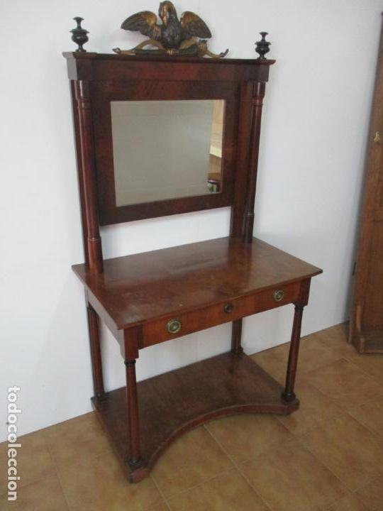 Antigüedades: Pequeño Tocador - Consola con Espejo - Carlos IV - Madera de Caoba - 90 cm Ancho - Principios S. XIX - Foto 9 - 134856686