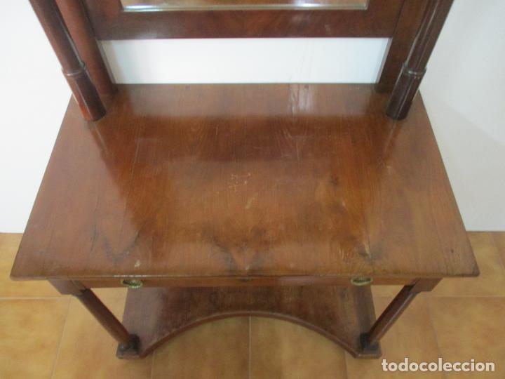 Antigüedades: Pequeño Tocador - Consola con Espejo - Carlos IV - Madera de Caoba - 90 cm Ancho - Principios S. XIX - Foto 10 - 134856686