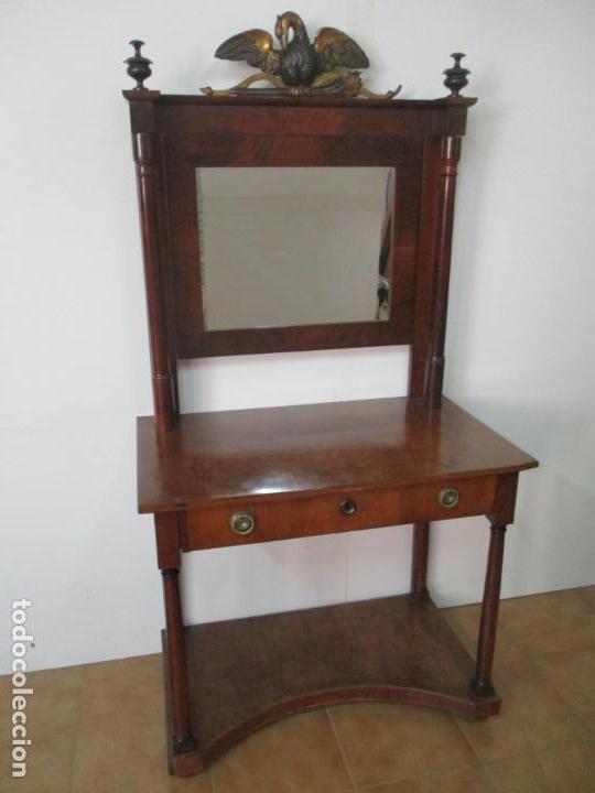 Antigüedades: Pequeño Tocador - Consola con Espejo - Carlos IV - Madera de Caoba - 90 cm Ancho - Principios S. XIX - Foto 12 - 134856686