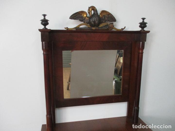 Antigüedades: Pequeño Tocador - Consola con Espejo - Carlos IV - Madera de Caoba - 90 cm Ancho - Principios S. XIX - Foto 13 - 134856686
