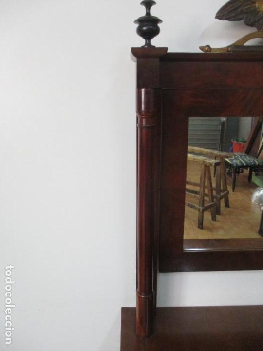 Antigüedades: Pequeño Tocador - Consola con Espejo - Carlos IV - Madera de Caoba - 90 cm Ancho - Principios S. XIX - Foto 14 - 134856686