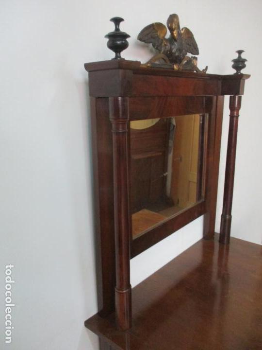 Antigüedades: Pequeño Tocador - Consola con Espejo - Carlos IV - Madera de Caoba - 90 cm Ancho - Principios S. XIX - Foto 24 - 134856686