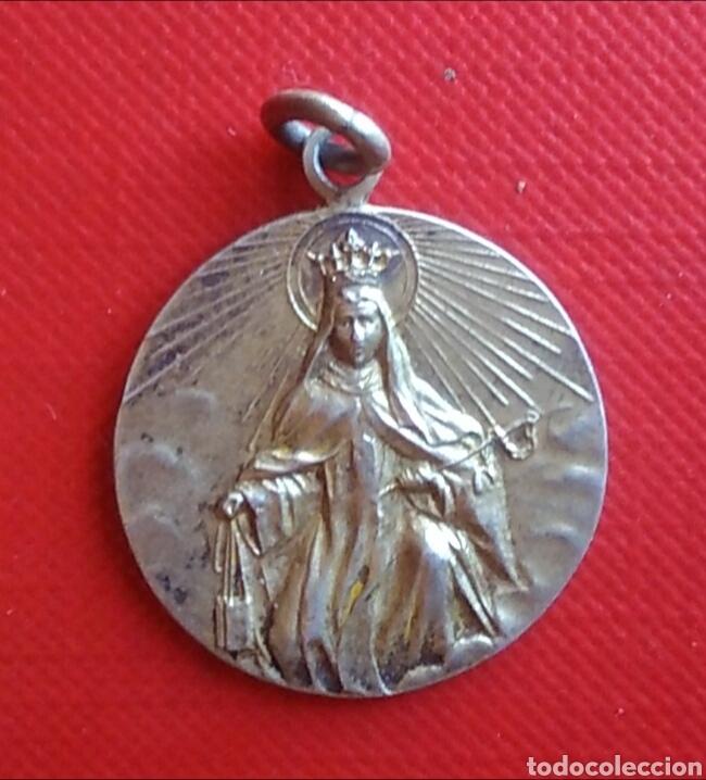 MEDALLA RELIGIOSA ANTIGUA NUESTRA SEÑORA DEL CARMEN VIRGEN / 25 X 30 MM (Antigüedades - Religiosas - Medallas Antiguas)