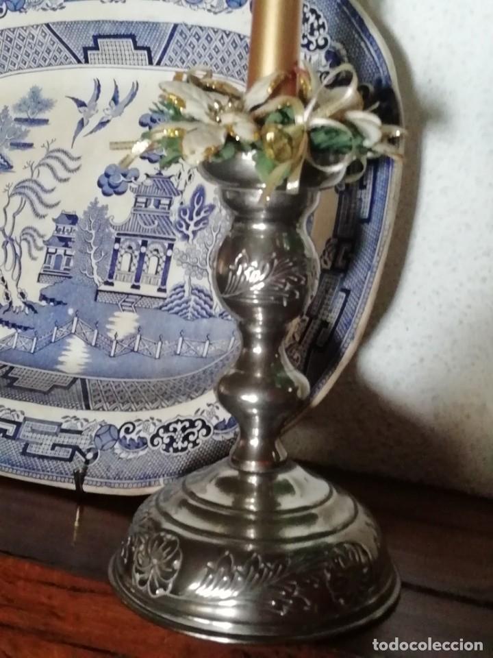 Antigüedades: Portavelas candelabro, en metal polido - Foto 3 - 132561090