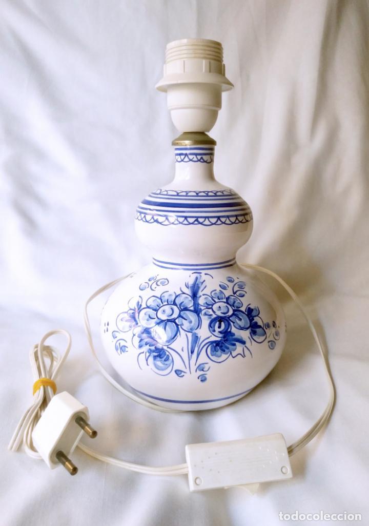 PRECIOSA LAMPARA CERÁMICA TALAVERA - ALFAR - LAMPARILLA 26 CM. ALTO - SOBREMESA - SIN PANTALLA (Antigüedades - Porcelanas y Cerámicas - Talavera)