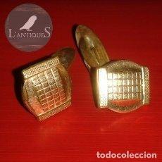 Antigüedades: GEMELOS BAÑO CHAPADO EN ORO, ORIGINALES ÉPOCA ART DECO AÑOS 20-30, ANTIGUOS S XX. Lote 106591539