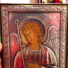 Antigüedades: ICONO RELIGIOSO ARCANGEL DE PLATA CONTRASTE 925 - MEDIDA 35X28 CM. Lote 134947414