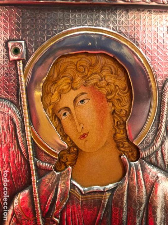Antigüedades: ICONO RELIGIOSO ARCANGEL DE PLATA CONTRASTE 925 - MEDIDA 35X28 CM - Foto 2 - 134947414