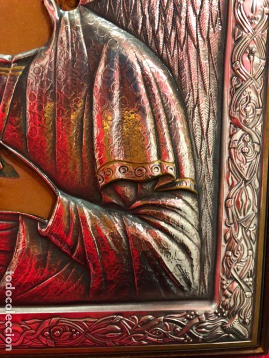Antigüedades: ICONO RELIGIOSO ARCANGEL DE PLATA CONTRASTE 925 - MEDIDA 35X28 CM - Foto 4 - 134947414