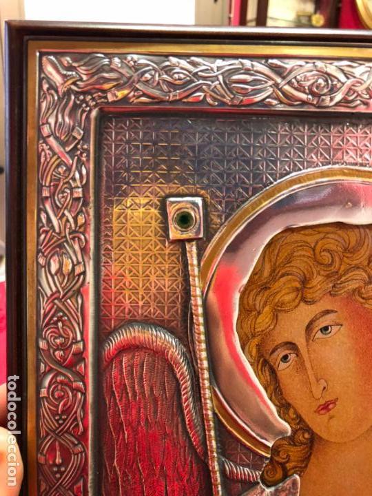 Antigüedades: ICONO RELIGIOSO ARCANGEL DE PLATA CONTRASTE 925 - MEDIDA 35X28 CM - Foto 5 - 134947414