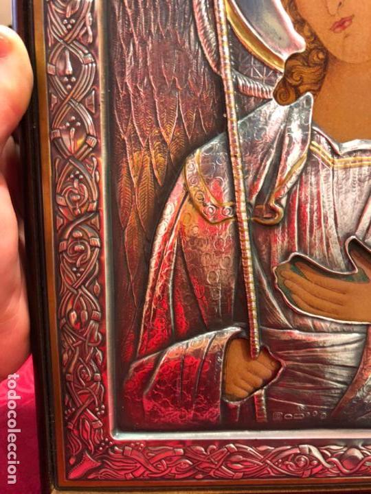 Antigüedades: ICONO RELIGIOSO ARCANGEL DE PLATA CONTRASTE 925 - MEDIDA 35X28 CM - Foto 6 - 134947414