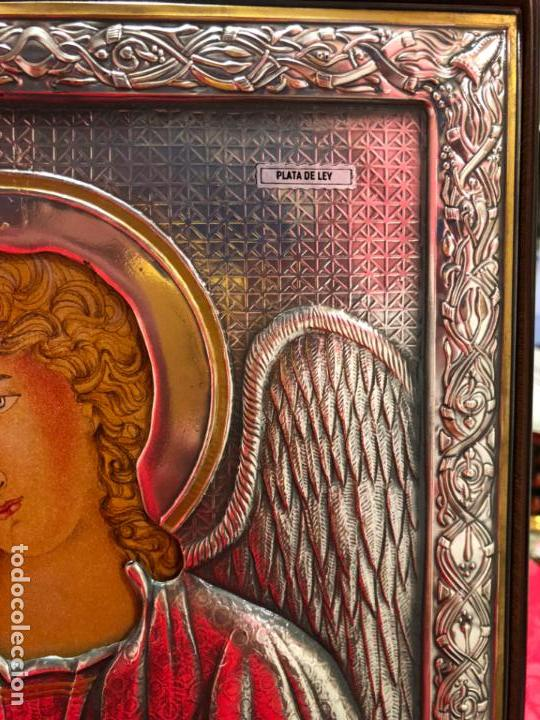 Antigüedades: ICONO RELIGIOSO ARCANGEL DE PLATA CONTRASTE 925 - MEDIDA 35X28 CM - Foto 7 - 134947414
