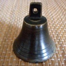 Antiguidades: CAMPANA DE BRONCE - CON BADAJO - 6 X 55 CMS. Lote 134977926