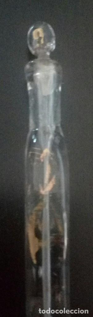 Antigüedades: 2 frascos perfumeros l siglo XVIII XIX, en cristal de La Graja tallados y dorados. - Foto 4 - 134982970
