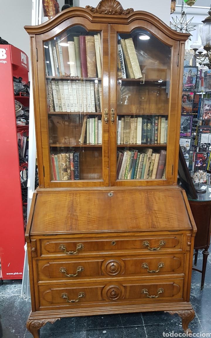 ESCRITORIO CON VITRINA GRANDE (Antigüedades - Muebles Antiguos - Escritorios Antiguos)