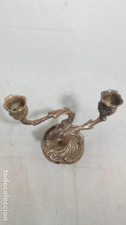Antigüedades: Candelabro aluminio macizo dos brazos, dernista, candelero, decoración - Foto 2 - 134986110