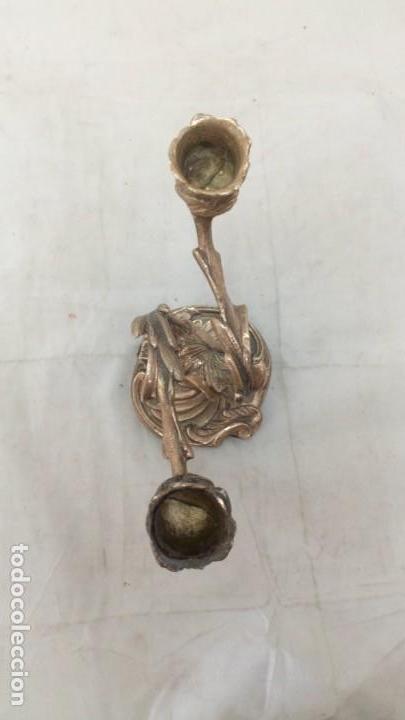Antigüedades: Candelabro aluminio macizo dos brazos, dernista, candelero, decoración - Foto 6 - 134986110