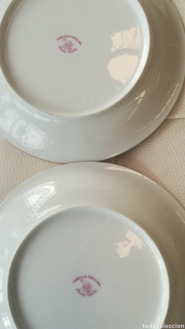 Antigüedades: 2 antiguos platos de porcelana Santa Clara - Foto 2 - 135044049