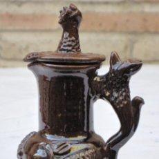 Antigüedades: JARRITA 3 EN CERAMICA VIDRIADA CON DECORACION EN RELIEVE - EXTINTO ALFAR DE CASATEJADA ( CACERES ). Lote 135058670