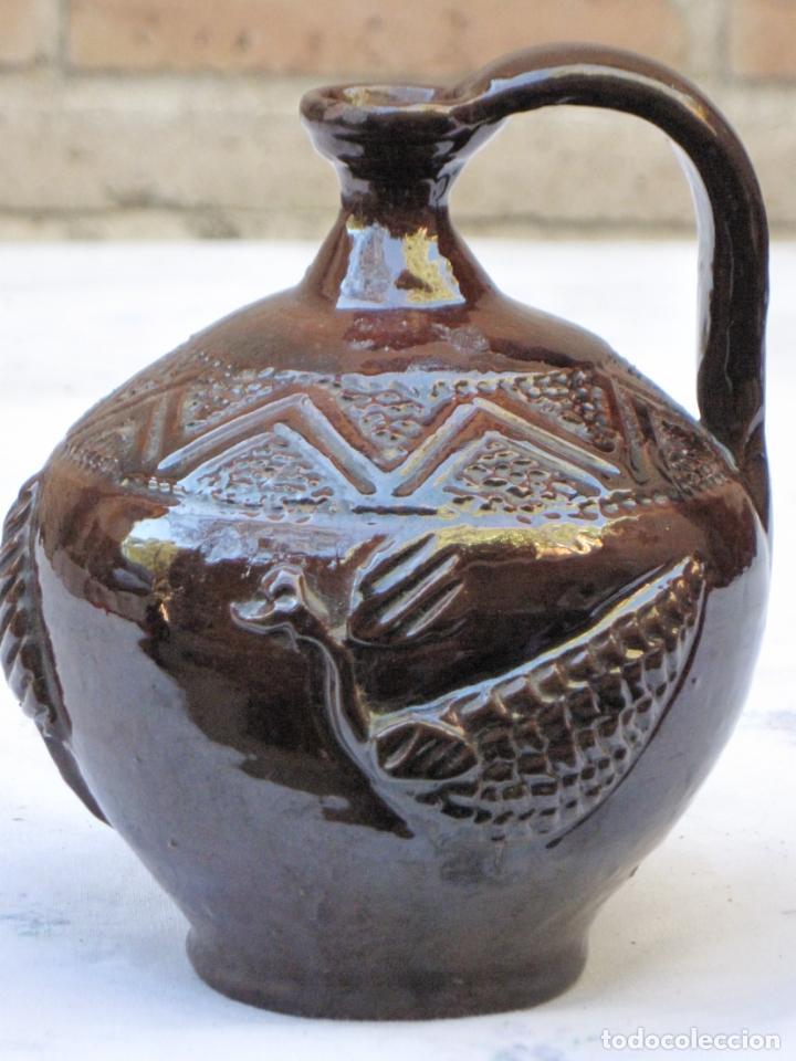 CANTARILLO 1 EN CERAMICA VIDRIADA - DECORACION EN RELIEVE - EXTINTO ALFAR DE CASATEJADA ( CACERES ) (Antigüedades - Porcelanas y Cerámicas - Otras)