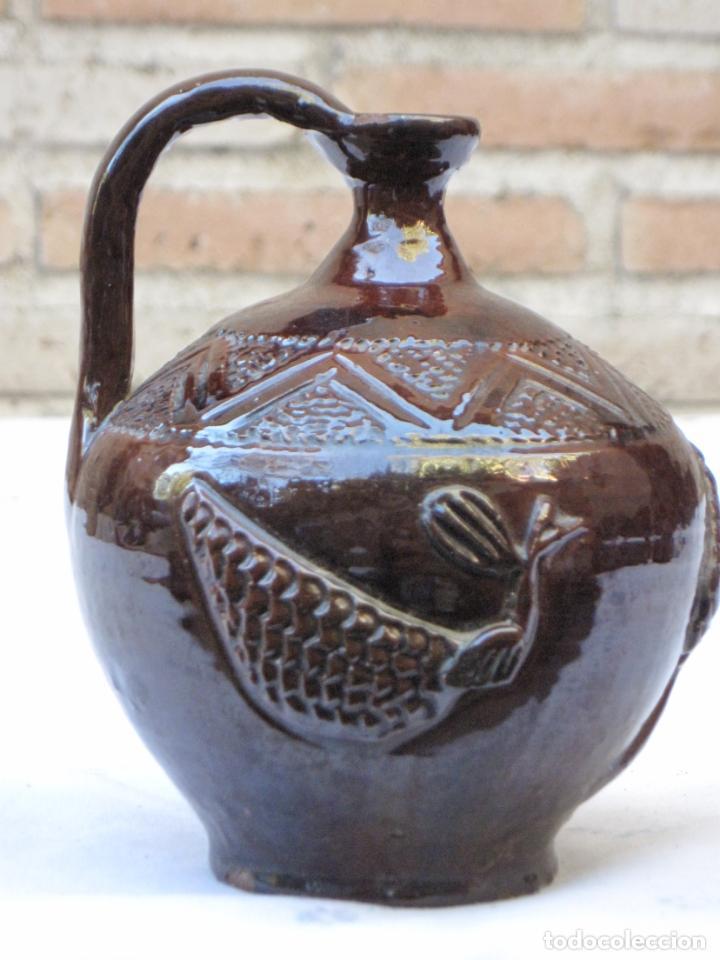 Antigüedades: CANTARILLO 1 EN CERAMICA VIDRIADA - DECORACION EN RELIEVE - EXTINTO ALFAR DE CASATEJADA ( CACERES ) - Foto 3 - 135059142