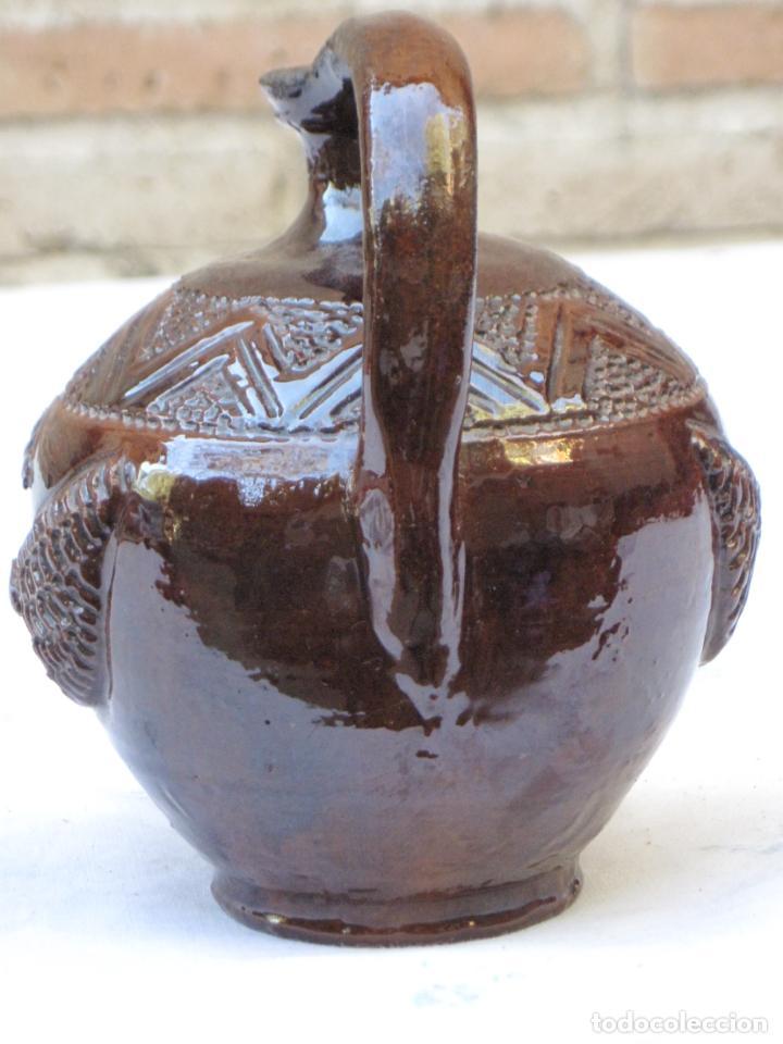 Antigüedades: CANTARILLO-CANTARO - CERAMICA VIDRIADA-DECORACION EN RELIEVE-EXTINTO ALFAR DE CASATEJADA ( CACERES ) - Foto 3 - 135059690