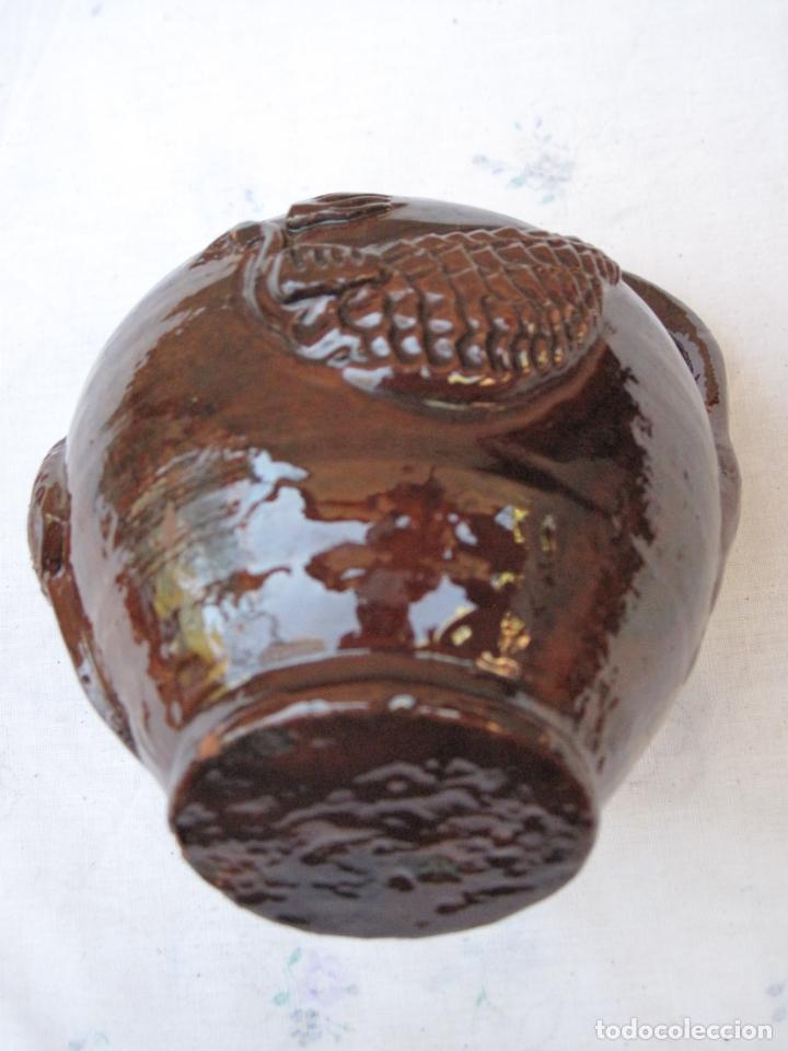 Antigüedades: CANTARILLO-CANTARO - CERAMICA VIDRIADA-DECORACION EN RELIEVE-EXTINTO ALFAR DE CASATEJADA ( CACERES ) - Foto 7 - 135059690