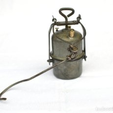 Antigüedades: LAMPARA DE MINA DE CARBURO ARRAS COMPLETA EN BUEN ESTADO DE 60 CM DE ALTO. Lote 135061486
