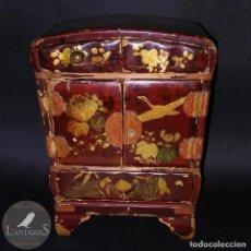 Antigüedades - JOYERO ARMARIO TOCADOR CHINO - MADERA LACADA colores rojizos policromado oro, asiatico antiguo s XIX - 113677627