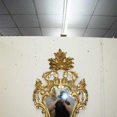 Antigüedades: ESPEJO ANTIGUO CORNUCOPIA DE MADERA TALLADA Y PAN DE ORO. Lote 135125522