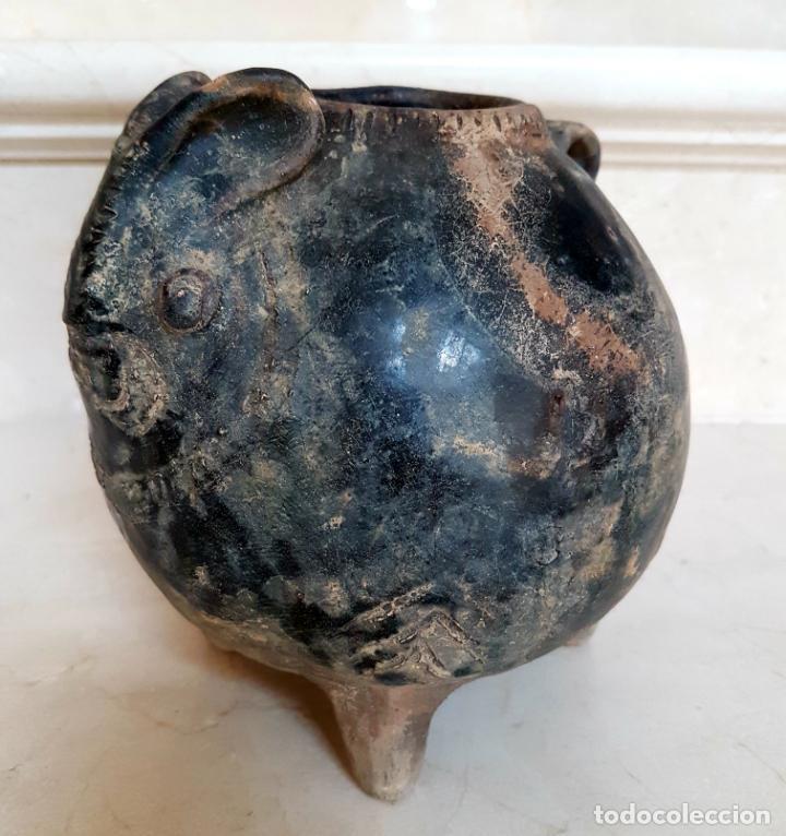 Antigüedades: MUY CURIOSO RECIPIENTE VIDRIADO ORIENTAL CON FORMA DE CONEJO,CHINA,S. XVIII - Foto 8 - 135155962