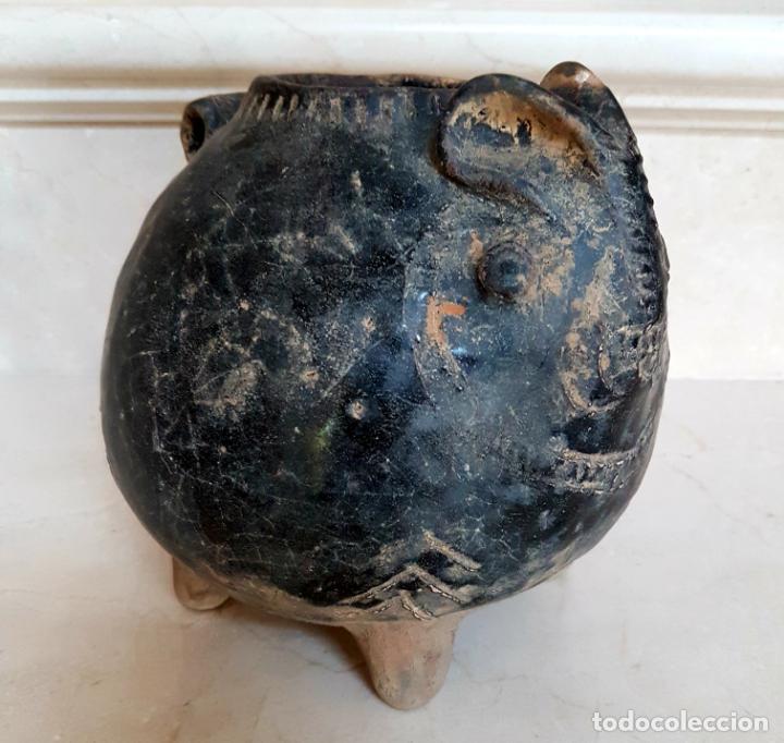 Antigüedades: MUY CURIOSO RECIPIENTE VIDRIADO ORIENTAL CON FORMA DE CONEJO,CHINA,S. XVIII - Foto 9 - 135155962