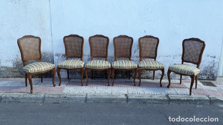Antigüedades: 6 seis sillas antiguas de rejilla estilo Luis XV sillería antigua isabelino isabelinas vintage - Foto 3 - 135164290