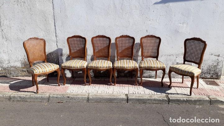 Antigüedades: 6 seis sillas antiguas de rejilla estilo Luis XV sillería antigua isabelino isabelinas vintage - Foto 2 - 135164290
