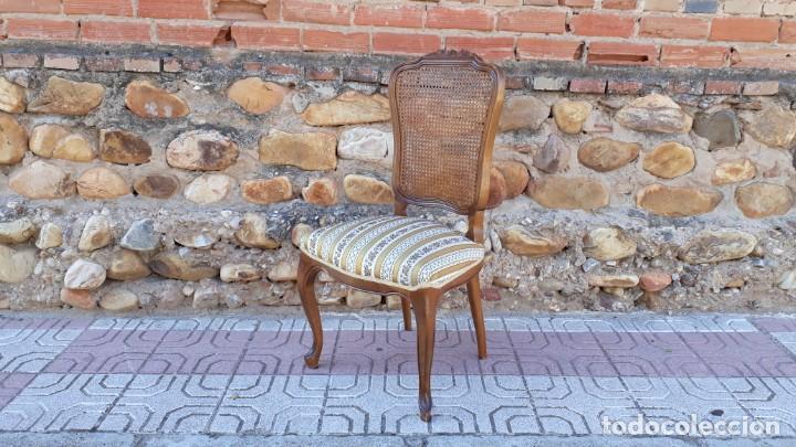 Antigüedades: 6 seis sillas antiguas de rejilla estilo Luis XV sillería antigua isabelino isabelinas vintage - Foto 5 - 135164290