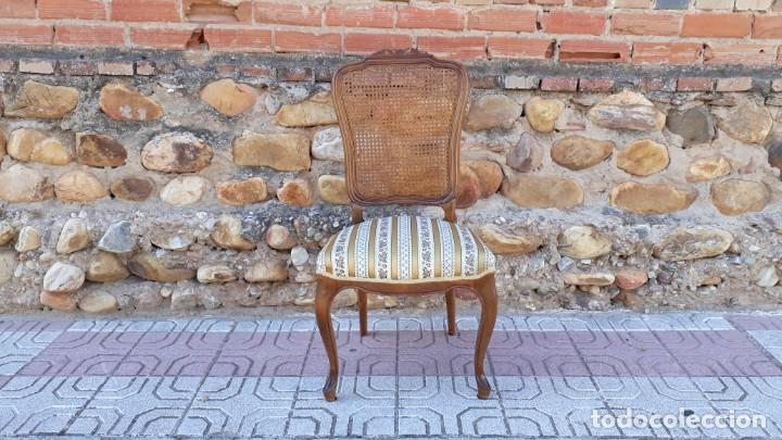Antigüedades: 6 seis sillas antiguas de rejilla estilo Luis XV sillería antigua isabelino isabelinas vintage - Foto 6 - 135164290