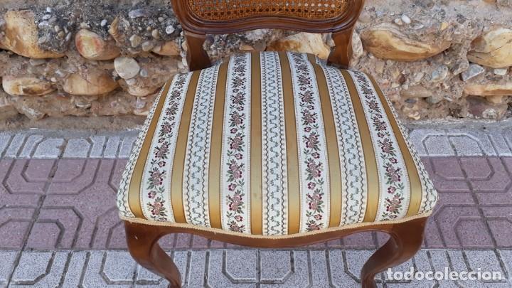 Antigüedades: 6 seis sillas antiguas de rejilla estilo Luis XV sillería antigua isabelino isabelinas vintage - Foto 7 - 135164290