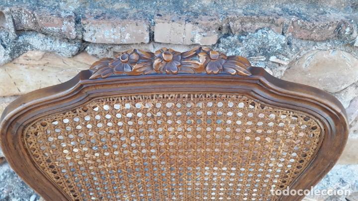Antigüedades: 6 seis sillas antiguas de rejilla estilo Luis XV sillería antigua isabelino isabelinas vintage - Foto 9 - 135164290