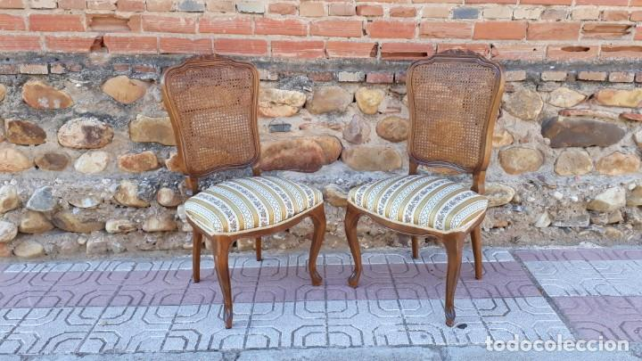 Antigüedades: 6 seis sillas antiguas de rejilla estilo Luis XV sillería antigua isabelino isabelinas vintage - Foto 12 - 135164290