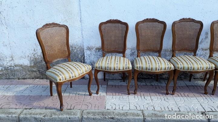 Antigüedades: 6 seis sillas antiguas de rejilla estilo Luis XV sillería antigua isabelino isabelinas vintage - Foto 13 - 135164290