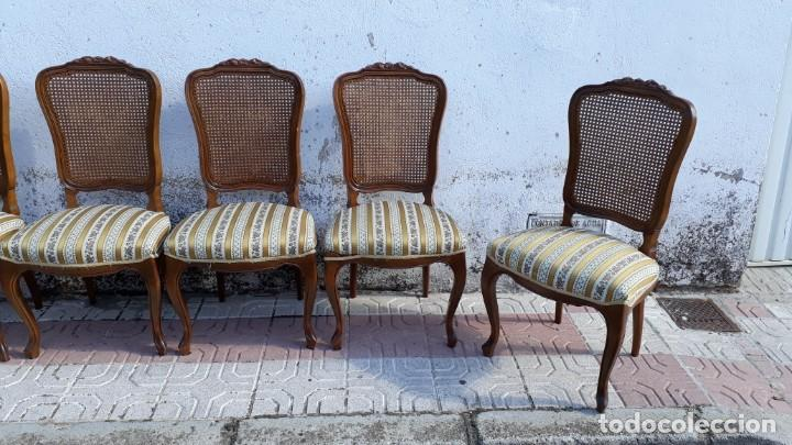 Antigüedades: 6 seis sillas antiguas de rejilla estilo Luis XV sillería antigua isabelino isabelinas vintage - Foto 14 - 135164290