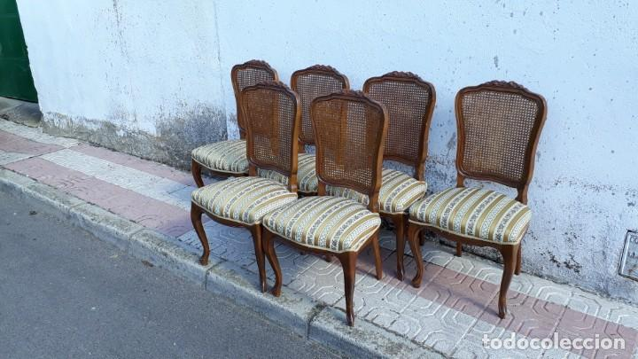 Antigüedades: 6 seis sillas antiguas de rejilla estilo Luis XV sillería antigua isabelino isabelinas vintage - Foto 4 - 135164290