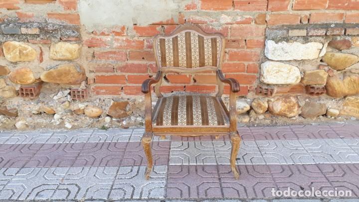Antigüedades: Silla descalzadora antigua estilo isabelino o Luis XV, sillón descalzador antiguo, años 40. - Foto 2 - 135168538