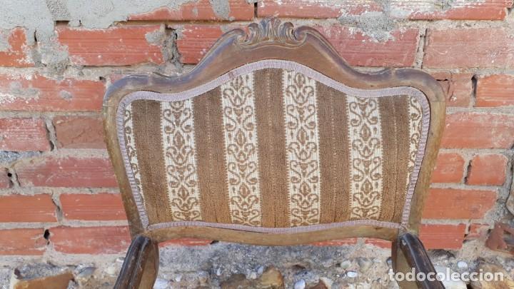 Antigüedades: Silla descalzadora antigua estilo isabelino o Luis XV, sillón descalzador antiguo, años 40. - Foto 3 - 135168538